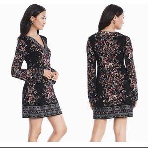 WHBM Floral Bell Sleeve V Neck Shift Dress S